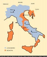 Lombard and Byzantine regions in Italy in 572 AD